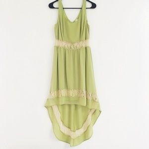 Jealous Tomato Aged Lace Sheer Hi-Low Maxi Dress